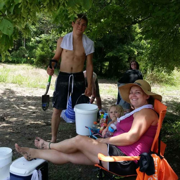 Resting at the dig site. Crater of Diamonds State Park Arkansas family fun, pet friendly, adventure, rock hunting, camping